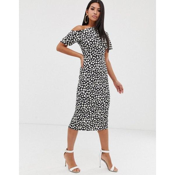 エイソス レディース ワンピース トップス ASOS DESIGN pleated shoulder midi pencil dress in black and white polka dot Splodge print