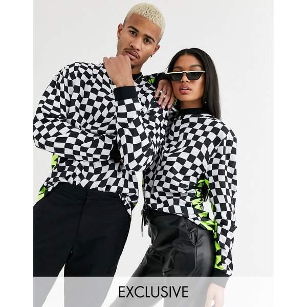 エイソス レディース Tシャツ トップス ASOS DESIGN x Christian Cowan Unisex long sleeved checkerboard t-shirt White