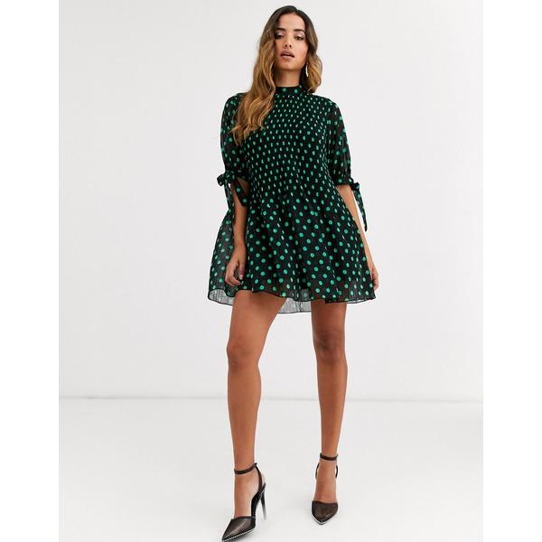 エイソス レディース ワンピース トップス ASOS DESIGN high neck pleated mini dress with tie sleeves in spot Black/green spot