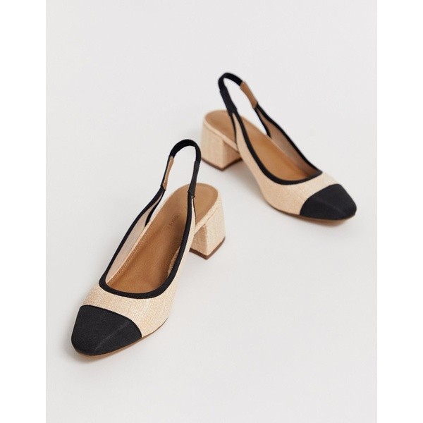 エイソス レディース ヒール シューズ ASOS DESIGN Sochi slingback mid heels in natural fabrication Natural/black