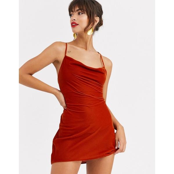 エイソス レディース ワンピース トップス ASOS DESIGN cami mini slip dress in velvet with lace up back Rust