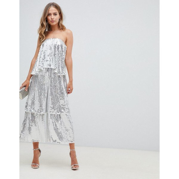 エイソス レディース ワンピース トップス ASOS DESIGN bandeau embellished jumpsuit with tiered leg Silver