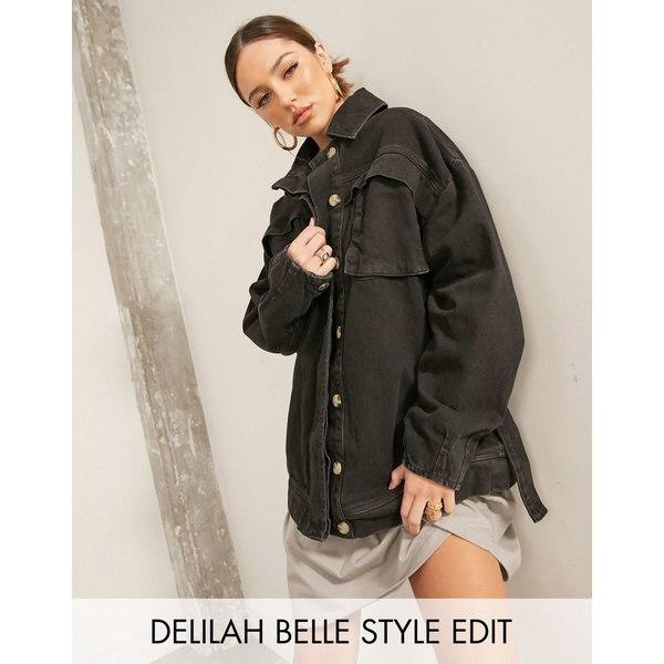 エイソス レディース ジャケット&ブルゾン アウター ASOS DESIGN denim oversized belted jacket in black Black