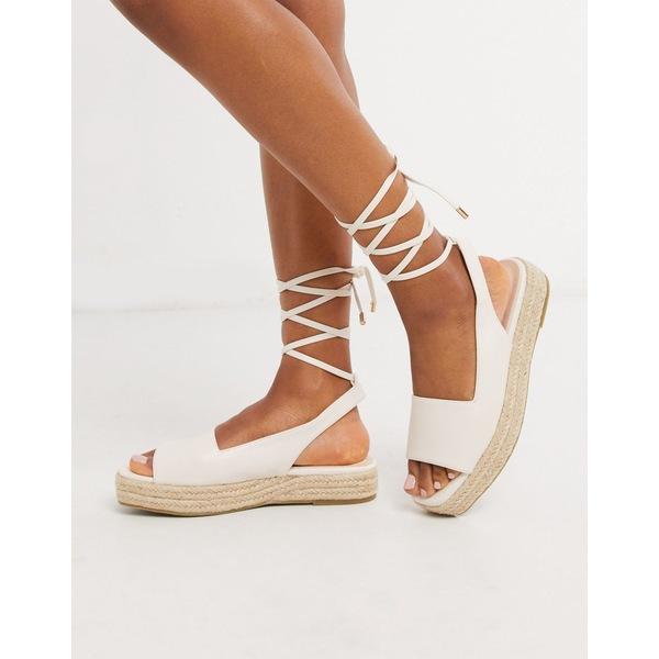 レイド レディース サンダル シューズ RAID Vinny straight cut espadrille sandals with ankle ties in white White