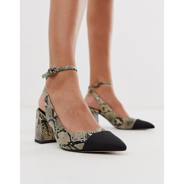 エイソス レディース ヒール シューズ ASOS DESIGN Squire pointed mid-heels in natural snake Natural snake/black