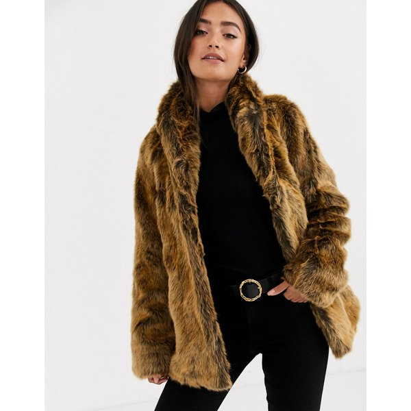 エイソス レディース コート アウター ASOS DESIGN stand collar faux fur coat in brown Brown