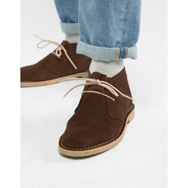 エイソス メンズ ブーツ&レインブーツ シューズ ASOS DESIGN desert boots in brown suede Brown