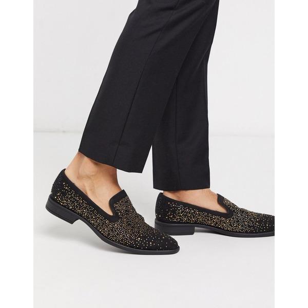 エイソス メンズ スリッポン・ローファー シューズ ASOS DESIGN loafers in black velvet with rhinestone detail Black