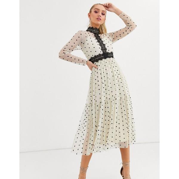 レースアンドビーズ レディース ワンピース トップス Lace & Beads long sleeve polka dot midi dress with lace inserts in cream/black Cream/black