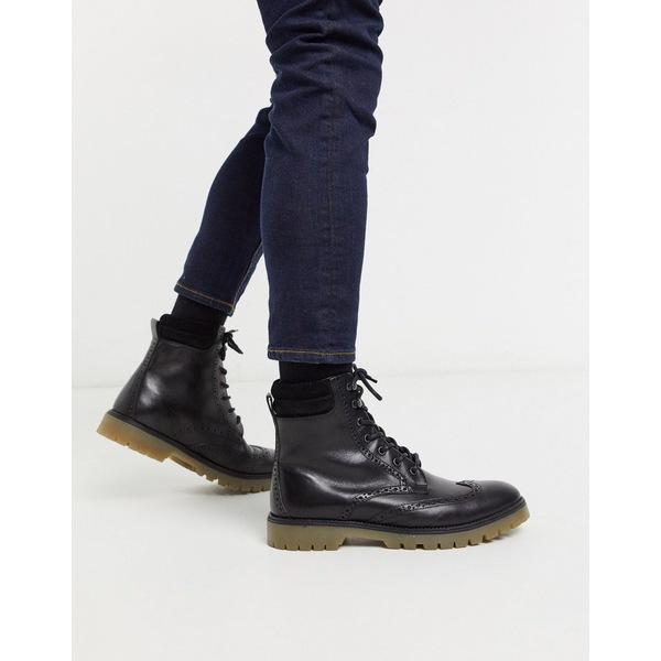 エイソス メンズ ブーツ&レインブーツ シューズ ASOS DESIGN brogue boots in black leather with cuff detail Black
