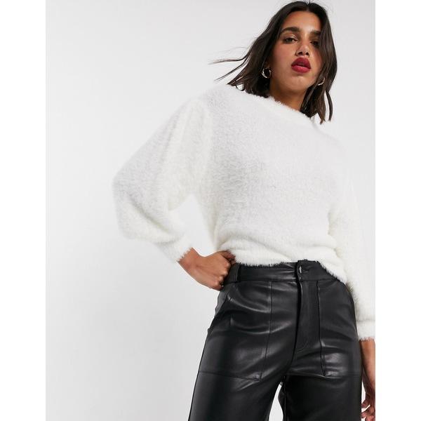 エイソス レディース ニット&セーター アウター ASOS DESIGN eyelash sweater with volume sleeve Off white