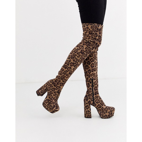 エイソス レディース ブーツ&レインブーツ シューズ ASOS DESIGN Knockout platform thigh high boots in leopard Leopard