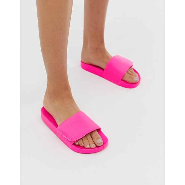 エイソス レディース サンダル シューズ ASOS DESIGN Fond padded sliders in neon pink Neon pink