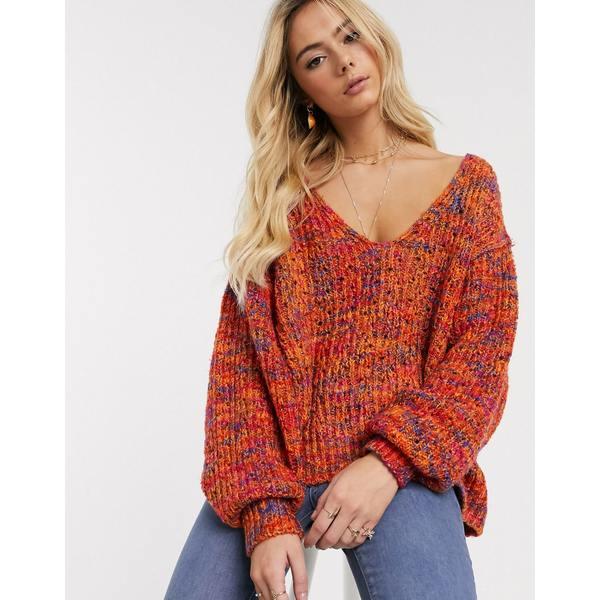 フリーピープル レディース ニット&セーター アウター Free People Highland v-neck sweater Orange combo