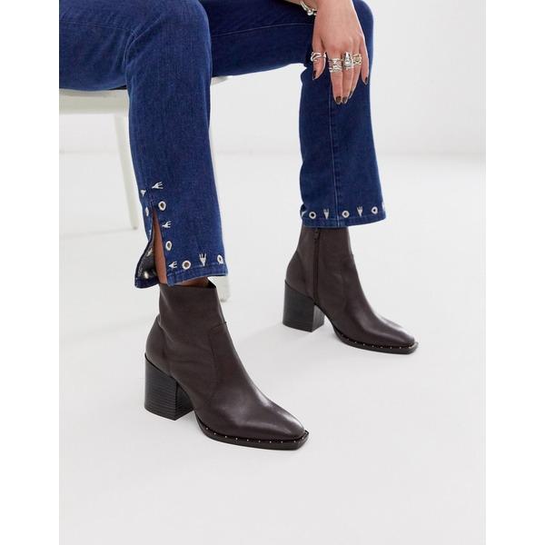 エイソス レディース ブーツ&レインブーツ シューズ ASOS DESIGN Restore leather studded block heel boots in brown Brown leather