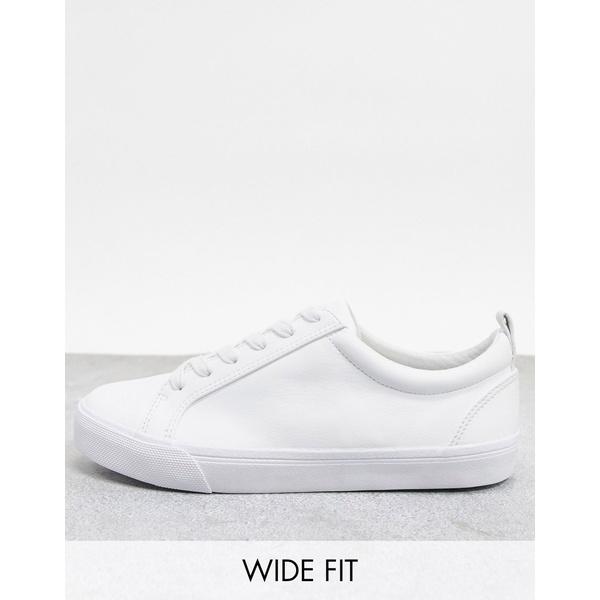 エイソス レディース スニーカー シューズ ASOS DESIGN Wide Fit Dunn lace up sneakers in white White