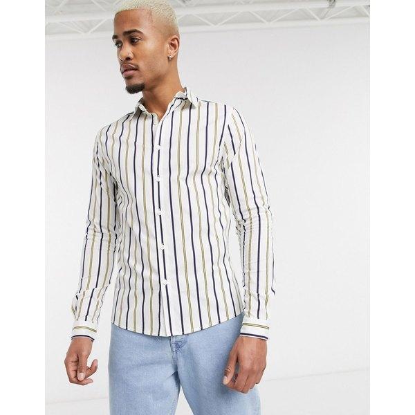 エイソス メンズ シャツ トップス ASOS DESIGN skinny stripe shirt in white White