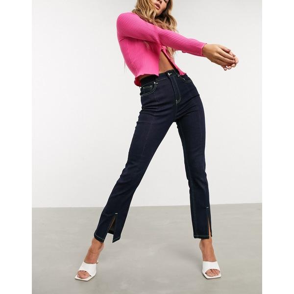 エイソス レディース デニムパンツ ボトムス ASOS DESIGN Super high rise 'sassy' cigarette jeans with split seam detail in raw denim Indigo