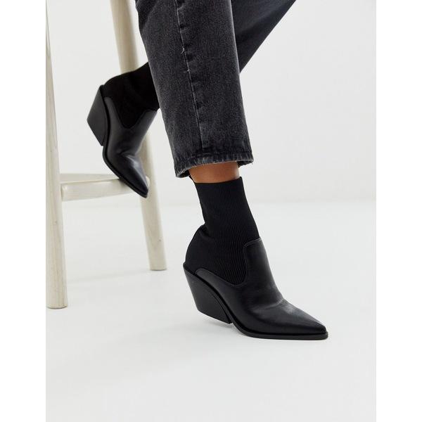 【新作入荷!!】 エイソス レディース ブーツ&レインブーツ シューズ ASOS DESIGN Rekindle western sock boots in black Black knit mix, かわいい文房具のドイブングテン f9b7b27b