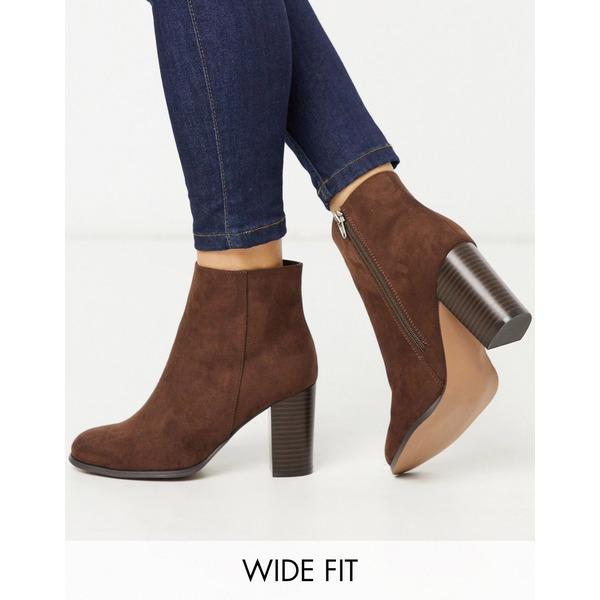 エイソス レディース ブーツ&レインブーツ シューズ ASOS DESIGN Wide Fit Rye heeled ankle boots in brown Brown