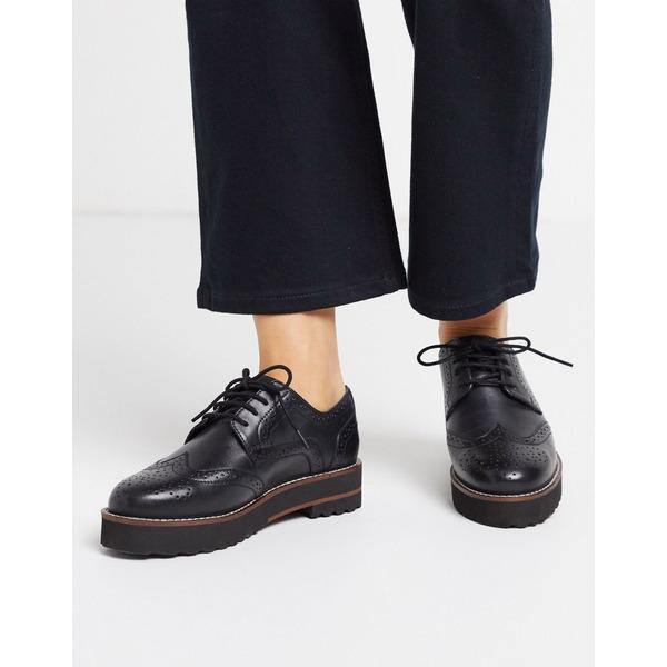 エイソス レディース サンダル シューズ ASOS DESIGN Mottle leather flat brogues in black Black