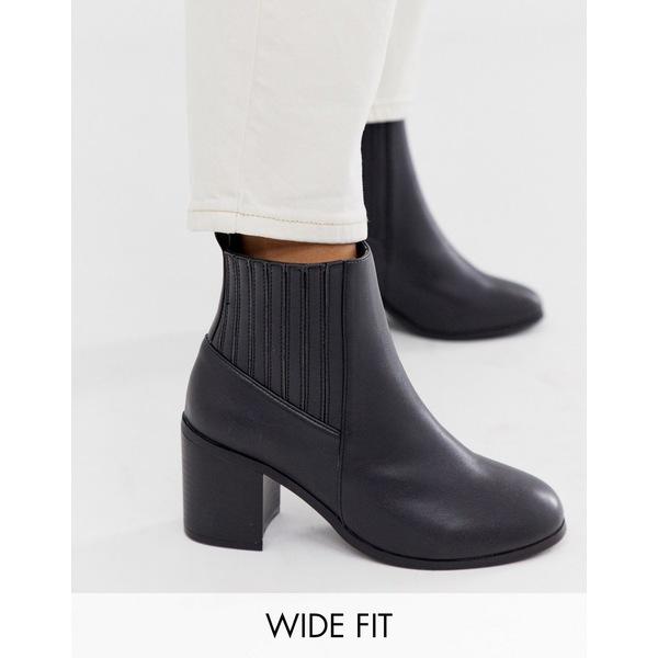 エイソス レディース ブーツ&レインブーツ シューズ ASOS DESIGN Wide Fit Reform chelsea ankle boots in black Black