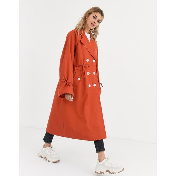 エイソス レディース コート アウター ASOS DESIGN luxe contrast button trench coat in rust Rust
