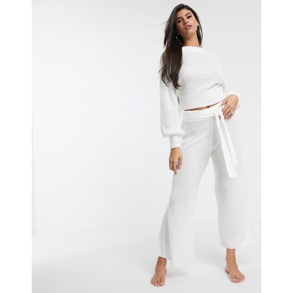 エイソス レディース カジュアルパンツ ボトムス ASOS DESIGN lounge premium knitted wide leg pants Cream