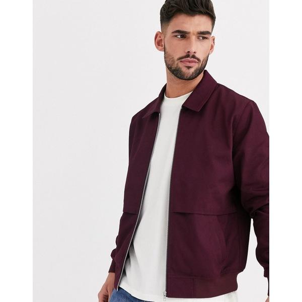 エイソス メンズ ジャケット&ブルゾン アウター ASOS DESIGN harrington jacket with storm vent in burgundy Burgundy