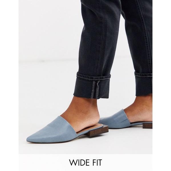 エイソス レディース サンダル シューズ ASOS DESIGN Wide Fit Magic flat mules in blue Blue