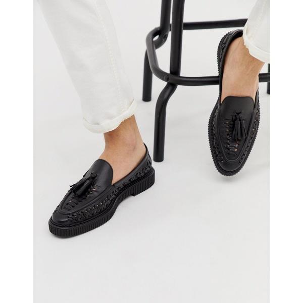 ハウスオブハウンデッド メンズ スリッポン・ローファー シューズ House of Hounds Orion woven loafers in black leather Black