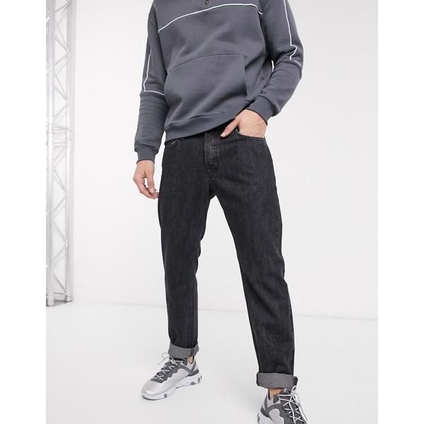 ジャック アンド ジョーンズ メンズ デニムパンツ ボトムス Jack & Jones Intelligence straight fit jeans in vintage dark gray Black denim