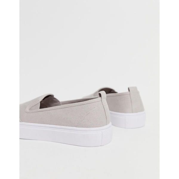 エイソス レディース スニーカー シューズ ASOS DESIGN Wide Fit Dexter slip on plimsolls in gray Gray