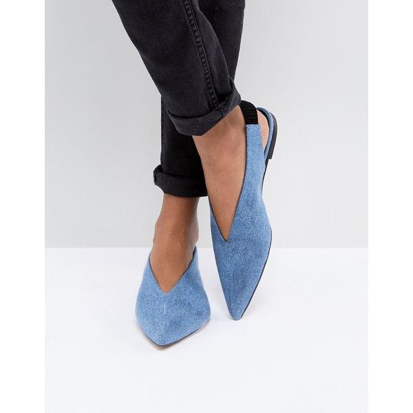 ゲタス レディース サンダル シューズ Gestuz Denim Flat Slingback Shoe Azul blue