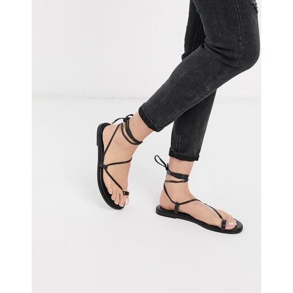 エイソス レディース サンダル シューズ ASOS DESIGN Forest toe loop minimal sandal in black Black