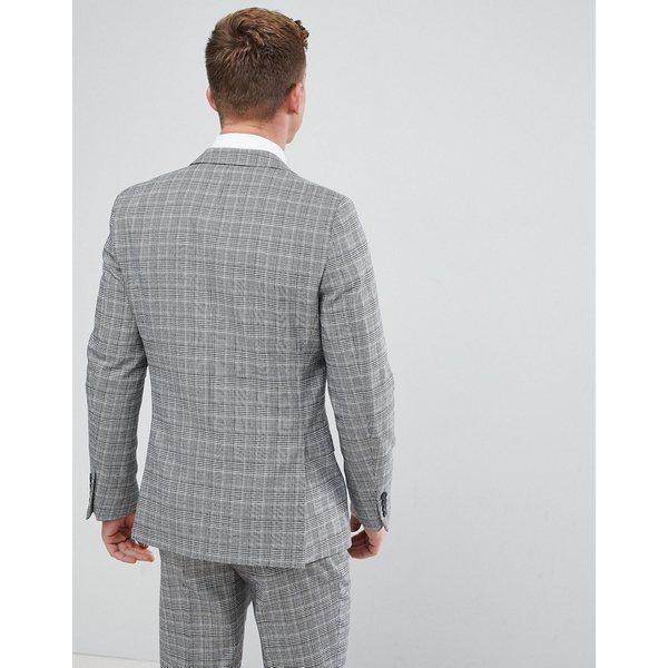 フレンチコネクション メンズ ジャケット&ブルゾン アウター French Connection Prince Of Wales Blue Check Slim fit Suit Jacket Gray