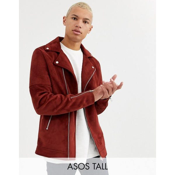 エイソス メンズ ジャケット&ブルゾン アウター ASOS DESIGN Tall faux suede biker jacket in burgundy Burgundy