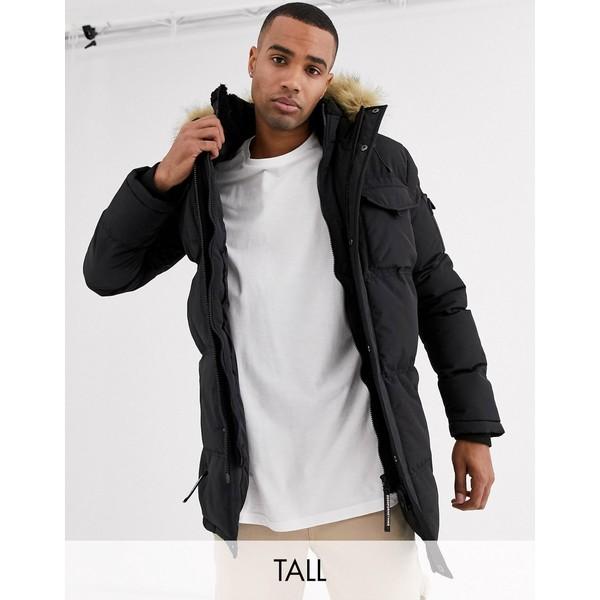 グッドフォーナッシング メンズ コート アウター Good For Nothing puffer parka coat in black with faux fur hood Black