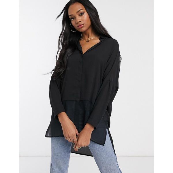 エイソス レディース シャツ トップス ASOS DESIGN soft long sleeve shirt in sheer and solid Black