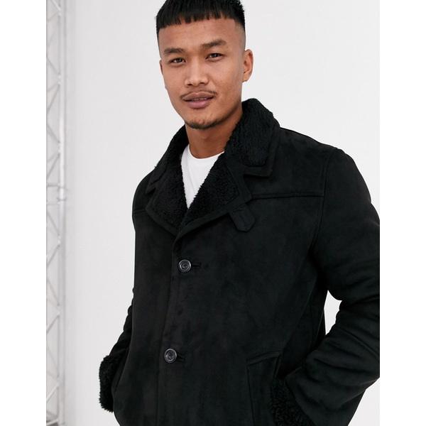 エイソス メンズ ジャケット&ブルゾン アウター ASOS DESIGN faux suede jacket in black with black teddy lining Black
