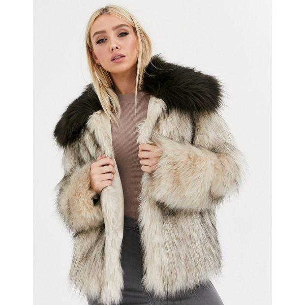 エイソス レディース コート アウター ASOS DESIGN faux fur contrast collared coat in brown Brown