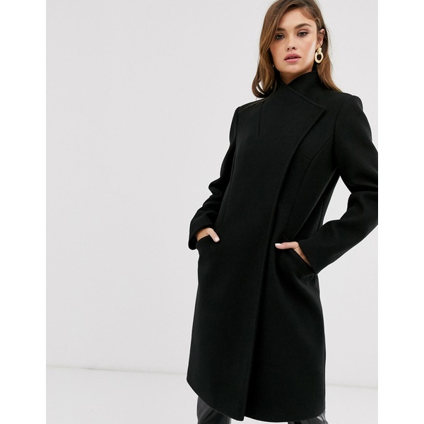エイソス レディース コート アウター ASOS DESIGN smart coat with wrap front detail in black Black