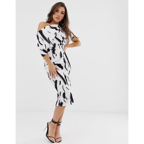 エイソス レディース ワンピース トップス ASOS DESIGN fallen shoulder midi pencil dress in squiggle print Multi