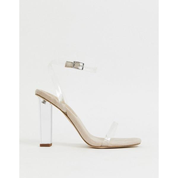 エイソス レディース ヒール シューズ ASOS DESIGN Hark clear barely there block heeled sandals ClearbeigeFKT3Jcl1