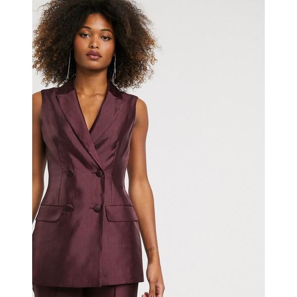 エイソス レディース ジャケット&ブルゾン アウター ASOS DESIGN sleeveless double breasted suit blazer in textured satin Oxblood
