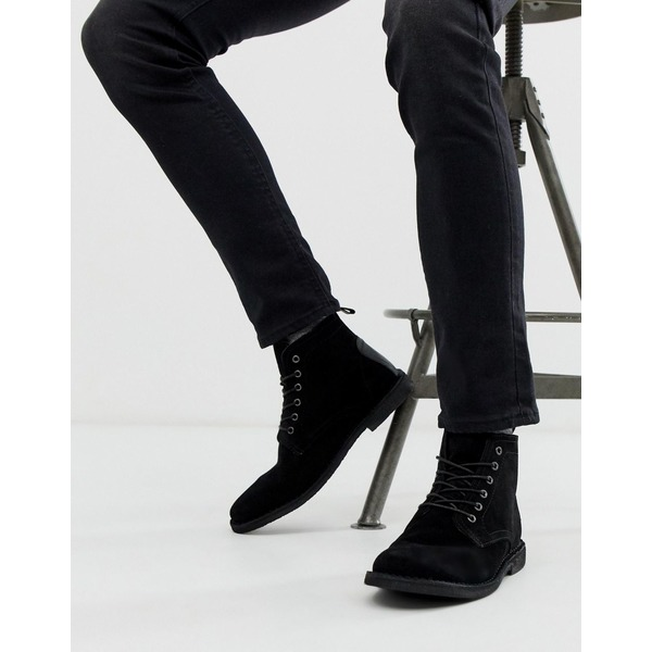 エイソス メンズ ブーツ&レインブーツ シューズ ASOS DESIGN Desert boots in black suede with leather detail Black