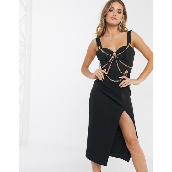 エイソス レディース ワンピース トップス ASOS DESIGN Premium chain harness structured midi bodycon dress Black