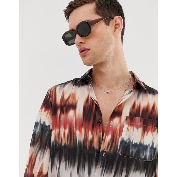 エイソス メンズ シャツ トップス ASOS DESIGN festival regular tie dye shirt with deep revere Brown