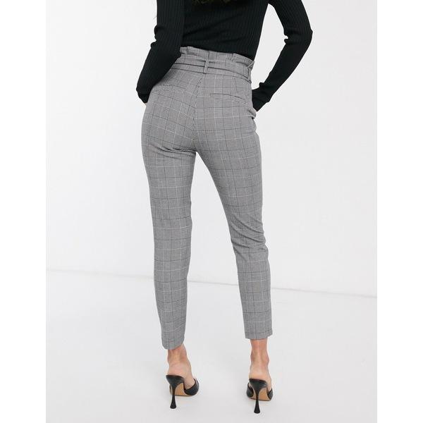 ヴェロモーダ レディース カジュアルパンツ ボトムス Vero Moda paperbag pants in monochrome houndstooth Gray