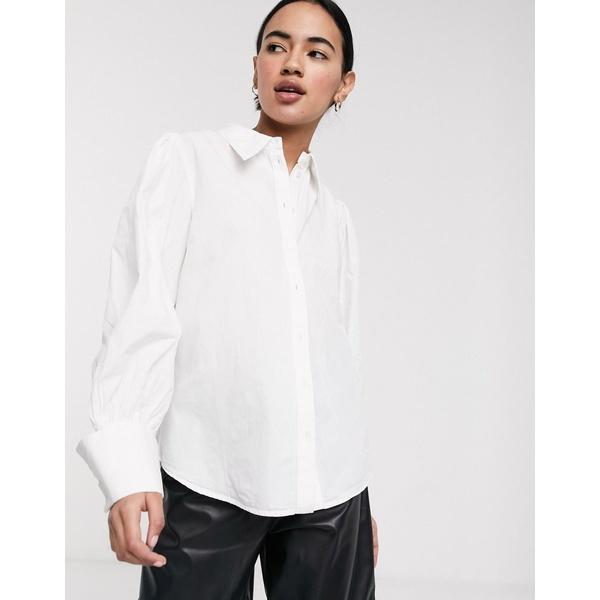 セレクティッド レディース シャツ トップス Selected Femme shirt with wide cuff in white White